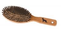 Duża owalna szczotka  drewniana inkrustowana korkiem, z włosem Włosie naturalne